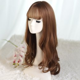 $enCountryForm.capitalKeyWord Australia - Wig female long curly hair air bangs big wave fluffy high temperature silk pear flower wig set factory wholesale
