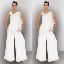 White formal suits online shopping - Elegant Mother of the Bride Groom Pant Suit Ruched Crystal Plus Size White Chiffon Elegant Women Formal Wedding Guest Dresses