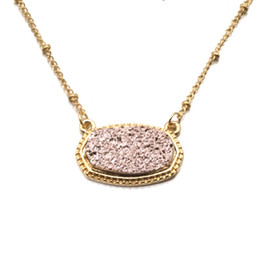 Gold Pendants Charm Wholesale Australia - 11 Colorful Kendra Scott Druzy Drusy Necklace Hexagon Resin Druse Stone Pendant Gold Plated Dangle Charms Collar Jewelry Christmas Gift