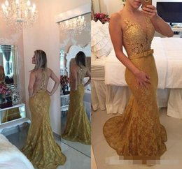 $enCountryForm.capitalKeyWord Australia - Elegant New Gold Lace Beaded Prom Dresses Mermaid Sexy Illusion Deep V-neck Backless Evening Gowns Custom Made Special Occasion Dress