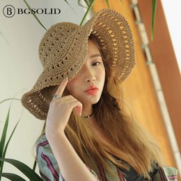 6504600a1e0 Korean version hand-crocheted straw hat with matching straw hat women summer  folding small fresh beach holiday big eaves sunshad