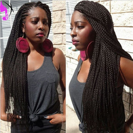 twisted wig UK - Twisted synthetic lace front wig long synthetic thick full hand twist wig synthetic black micro braided wig for black women