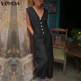 $enCountryForm.capitalKeyWord Australia - Vonda Women Vintage Wide Leg Pants 2019 Rompers Womens Jumpsuits Cotton V Neck Sleeveless Playsuit Casual Long Overall Plus Size MX190726