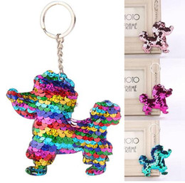 $enCountryForm.capitalKeyWord NZ - New Chaveiro Cute Keychain Glitter Pompom Sequins dog Key Chain Gifts for Women Llaveros Mujer Car Bag Accessories Key Ring ca39