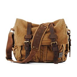 Vintage Military Leather Bags Australia - good quality Fashion Canvas Bag Men Vintage Messenger Bag Large Military Army Leather Crossbody Travel Bags For Men Laptop Bag 14 Inch