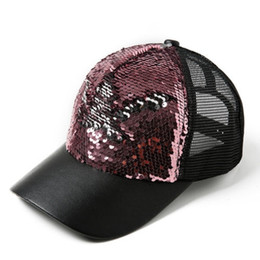 Women Ponytail Baseball Cap Sequins Shiny Mesh Bun Bling Snapback Hat Sun  Caps Adjustable Fashion Summer 2018  17178 577b650b01f9