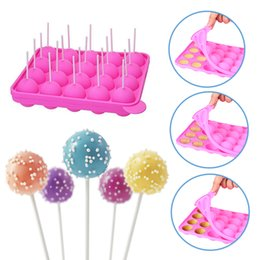 Party Decoration Tips Australia - 20pcs Round Silicone Tray Cake Stick Mould Lollipop Sugar Party Cupcake Baking Mold Pink Wedding Decoration
