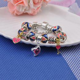 Key Bead Bracelet Australia - Cheap s925 Silver Logo Charm Bracelets For Women Brand Transparent Crystal Glasses Beads Pink Diamond Heart Key Pendant Pandora Bangles P15