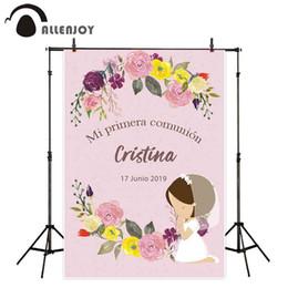 Custom Photo Canvas Prints Australia - Background Allenjoy Holy Communion photography backdrop pink flower girl background photo studio party custom photocall photophone decor