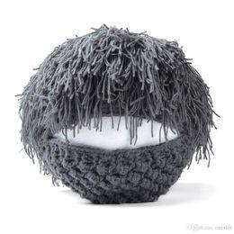 Crochet Ski Mask UK - 1PC Mens Women Barbarian Knit Crochet Hat Mad Scientist Wig Mustache Cap Ski Beard Mask Gift