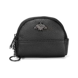 coin double Australia - New Genuine leather bee double zipper women designer zero wallets lady fashion cow leather key coin purses female popular clutchs 5colors
