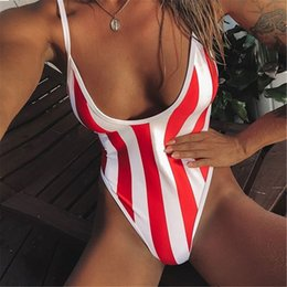 1f8ede188f New Conjoined Lady Swimsuit Striped Sexy Style with Designer Swimsuit Chest  Mat Thin Hot Sweat Absorption Slimming Buttock Lift Bikini