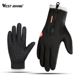 warmest motorcycle gloves 2019 - WEST BIKING Thicken Winter Cycling Gloves Outdoor Sports Thermal Bicycle Gloves Men Women Motorcycle Fishing Hiking Warm