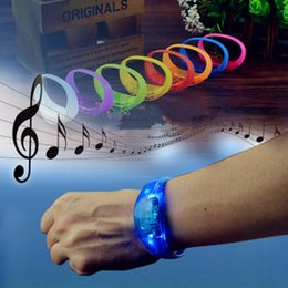 Wholesale Bar Gadgets NZ - Silicone bracelet LED sound control bracelet LED light wrist strap Light Up Bangle Wristband Party Bar Cheer toy Outdoor Gadgets LJJZ447