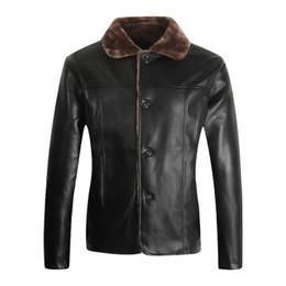 $enCountryForm.capitalKeyWord Australia - Hot Warm Fleece Winter Fashion Stylish Brand Men's leather Jacket Collar Stand Slim Motorcycle Faux Leather Male Coat Outwear Jacket