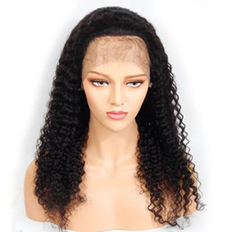 sexy curly lace front wigs Australia - Pretty sexy 100% unprocessed virgin human hair natural color kinky curly Front lace wig for woman full lace wig