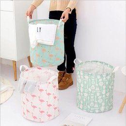 flamingo clothes Australia - Storage Basket Storage Bag Foldable Laundry 9 Styles Flamingo Bear Printed Clothes Home Sundries Storage Barrel Kids Toys Organizer YYSY195