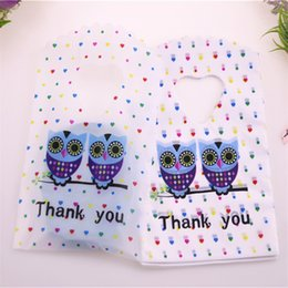 Chinese  2018 New Design Wholesale 50pcs lot 9*15cm Small Plastic Jewelry Accessories Packaging Bags With Owl Thank You Mini Gift Bags manufacturers