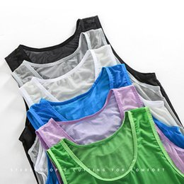 sexy men nightwear Canada - Sexy Men Tank Tops Transparent Mesh Sleepwear See Through Nightwear Sleeveless Tops Tees Sexy Underwear Male Black White Vest