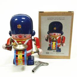 Figure Walk Australia - [TOP] Collection Retro Clockwork Wind up Metal Walking Tin brass military band robot toy Mechanical toys kids christmas gift