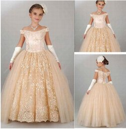 $enCountryForm.capitalKeyWord Canada - Hot Sale Champagne Detachable Skirt Flower Girl Dress Princess Prom Kids Birthday Party Lace Girl Dress Children Dresses YTZ20