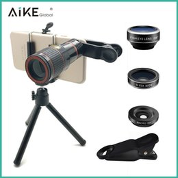 Angle Telescopes Australia - Mobile lens telescope ultra wide Angle macro fisheye telephoto long focus four in one set SLR selfie lens