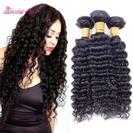 Double Weave Australia - Pamina Malaysian Deep Wave Human Hair Weave Bundles Natural Virgin Remy Hair Weaving Machine Double Weft Hair Extensions No Tangle
