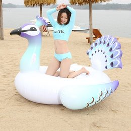Adult Swim Inflatable Pools Australia - NewGiant Inflatable Peacock Pool Float Row Ride-On Swimming Water Adult Children Party Toys 200X130X170CM Pool Float Circle