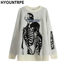 Wholesale knitted skull sweater for sale – custom Hip Hop Skull Knitted Oversized Sweater Mens Autumn Winter O neck Long Sleeve Pullover Streetwear New Loose Sweaters Clothing