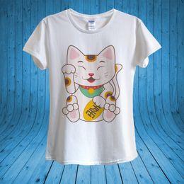 4c8fe114 Japanese Lucky Cat Maneki Neko Right Paw Funny T-shirt 100% Cotton unisex  women Men Women Unisex Fashion tshirt Free Shipping black