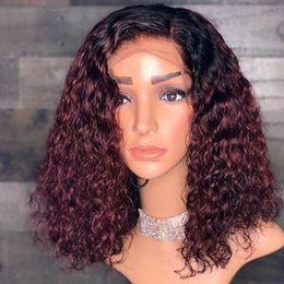 $enCountryForm.capitalKeyWord Australia - Pre Plucked Ombre #1bT99J Burgundy Kinky Curly Glueless Full Lace Wig with Baby Hair Size Part 99J Lace Front Wigs