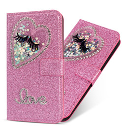 eyes case silicone UK - For Huawei P30 Pro P20 Lite Mate 20 10 Pro Case Bling Big Eyes Heart Love Wallet Leather Luxury Glitter Diamond Sparkle Flip Cover Sparking
