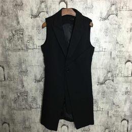 Long Hair Vest Australia - Customized New Men's fashion Korean version of sleeveless mid style long hair style coat vest plus size singer costumes S~5XL