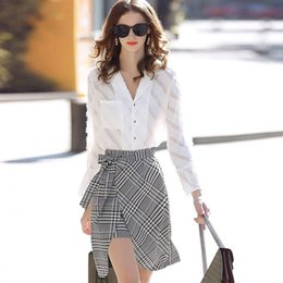 de758dd4d Spring Summer Office Ladies Skirt Set Women Tassels Notched Collar Flare  Sleeve Tops Blouses and Plaid Bows Skirts Suits NS976