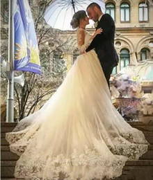 $enCountryForm.capitalKeyWord Australia - 2019 Long Sleeve Muslim Mermaid V Neck Wedding Dresses With Detachable Train White Lace Appllique Princess Cheap Vintage Wedding Gowns H031