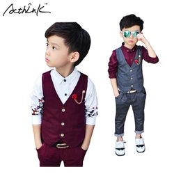 Boys Summer Suits For Wedding Australia - wholesale Children Spring 2Pcs Formal Wedding Vest Suit for Boys Top Quality Gentle Boys Polka Dot Suit Children Wedding