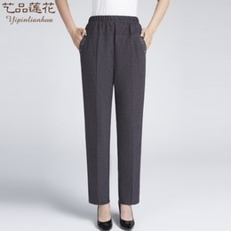 58de62b03 New spring and summer of 2019 middle-aged and old ladies casual pants  elastic waist trousers slacks fat mother big yards clothes