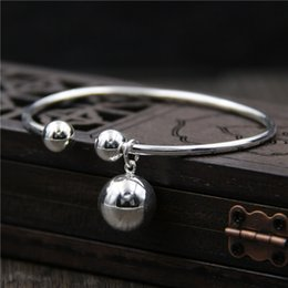 $enCountryForm.capitalKeyWord Australia - Silver S925 plain silver pendant bracelet with beads Japanese and Korean fashion simple women's Bracelet