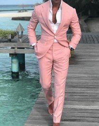 $enCountryForm.capitalKeyWord Australia - Pink Mens Prom Suits Notched Lapel Summer Groomsmen Wedding Tuxedos For Men Blazers One Button Two Pieces Formal Suit Jacket Pants