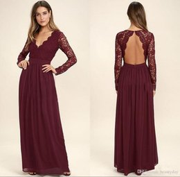 Chinese  2020 Burgundy Long Sleeves Bridesmaid Dresses For Wedding Lace Chiffon Long Sleeve Mermaid Maid Of Honor Gowns Wedding Guest Formal Dress manufacturers