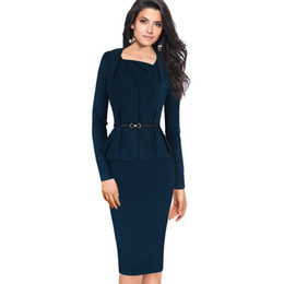 23f74d0a5e9c Lcw New Design Womens Elegant Peplum Slim Tunic Belted Vintage Casual Wear  To Work Business Office Bodycon Pencil Sheath Dress