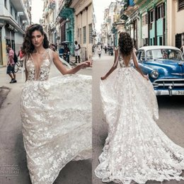 Discount simple african wedding dresses - 2019 Ivory Lace African Sexy Deep V Neck Backless Wedding Dresses Full Lace Floral Appliques Plus Size Boho Country Brid