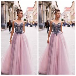 $enCountryForm.capitalKeyWord Australia - Sheer Beaded Top A-Line Tulle Prom Dresses Empire Waist Formal Special Occasion Party Gowns 2020 Customized Vestidos De Fiesta European