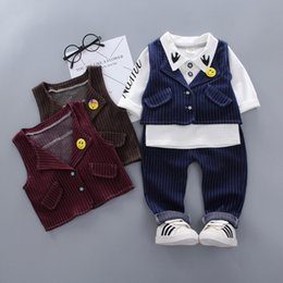 Wholesale Baby Boys Clothing Sets Spring Autumn Newborn Baby Cotton Wedding Vest Shirts Pants Party Clothes For Bebe Boys Todder Suit