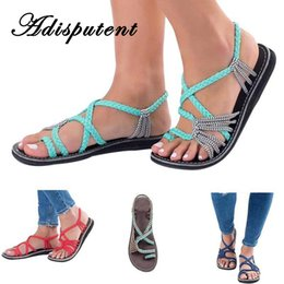 Discount wholesale dark red ties - Adisputent Women Beach Outdoor Sandals Breathable Wearable Slippers Flip-Flop Thong Slipper Knitted Cross Toe Plus Size