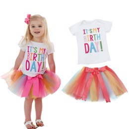 Girl vest tulle online shopping - 2 Years Baby Girl Birthday Two piece Outfits Tulle Tutu Dress Kids Clothes Baptism For Girls Princess Cotton