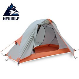 Discount one pole tent - Hewolf 1601 Single Person Aluminum Poles Double Layer Waterproof Windproof Camping Tent Beach Tent Camping Barraca