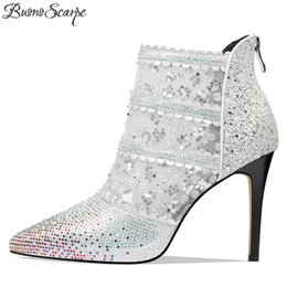sexy mesh boots 2019 - Buono Scarpe New Arrival Women Bling Bling Wedding Boots Sexy See Through Mesh Strass Women Summer Ankle Boots Heels Sum