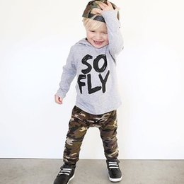 Cute Camouflage Clothing Canada - good quality Baby clothes for boys 2PCs Letter Hooded shirt Tops+Camouflage Pants kids clothing Winter clothes for baby roupas menino
