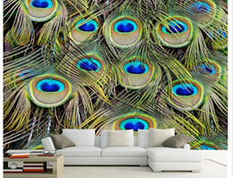 designer kitchen wallpaper UK - Peacock Feather TV Living Room Background Wall wall papers home decor designers